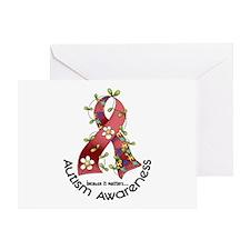 Flower Ribbon AUTISM Greeting Card