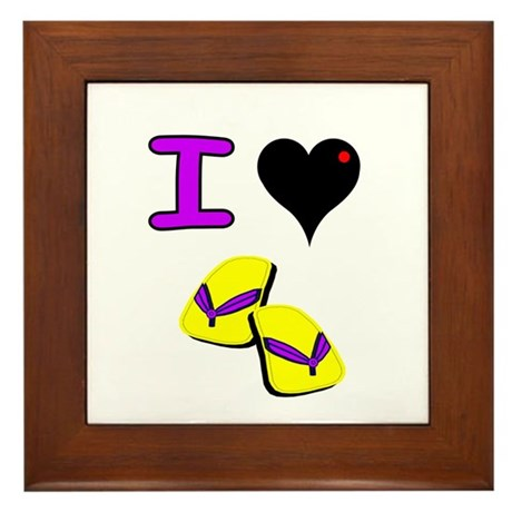 I love Flip Flops Framed Tile