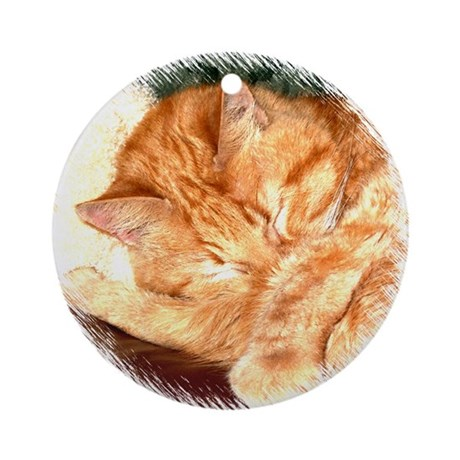 Sleeping Cat Ornament (Round)