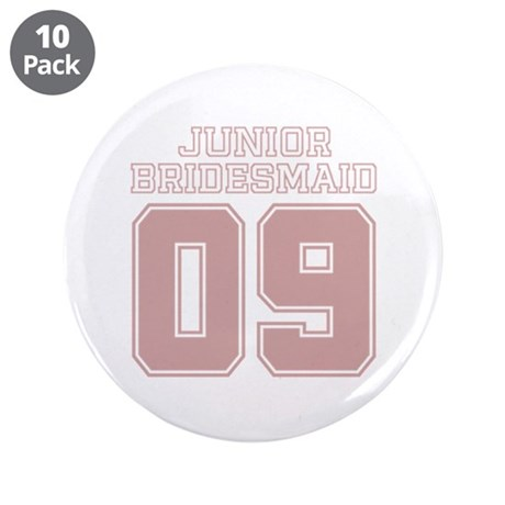 "Pink Junior Bridesmaid 09 3.5"" Button (10 pack)"