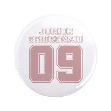 "Pink Junior Bridesmaid 09 3.5"" Button"