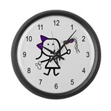 Girl & Mardi Gras Large Wall Clock