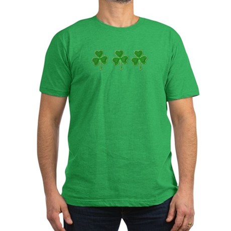 Triple Shamrock (Green) Men's Fitted T-Shirt (dark