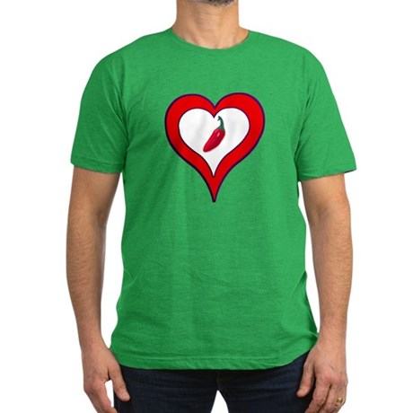 Red Hot Pepper Valentine Men's Fitted T-Shirt (dar