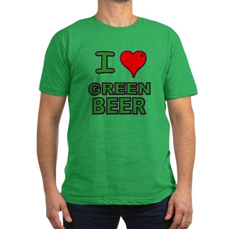 I heart Green Beer Men's Fitted T-Shirt (dark)