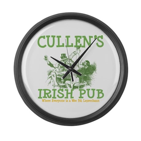 Cullen's Irish Pub Personalized Large Wall Clock