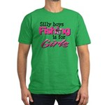 Silly boys, fishing is for girls! Men's Fitted T-S