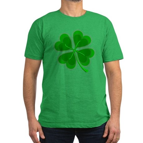 Lucky Four Leaf Clover Men's Fitted T-Shirt (dark)