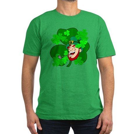 Leprechaun Shamrocks Men's Fitted T-Shirt (dark)