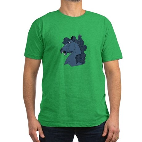 Blue Horse Men's Fitted T-Shirt (dark)
