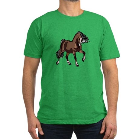 Spirited Horse Dark Brown Men's Fitted T-Shirt (da