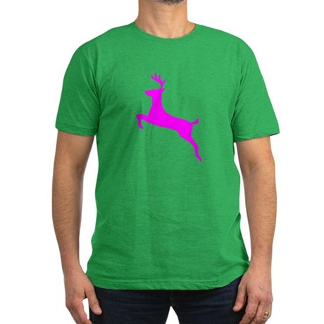 Hot Pink Leaping Deer Men's Fitted T-Shirt (dark)