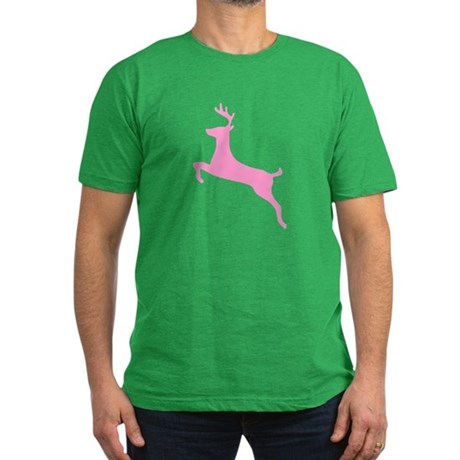 Pink Leaping Deer Men's Fitted T-Shirt (dark)