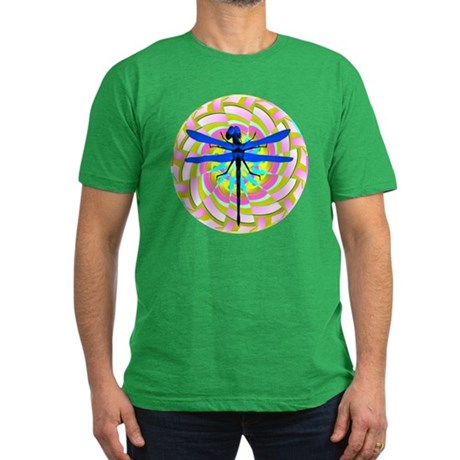 Kaleidoscope Dragonfly Men's Fitted T-Shirt (dark)