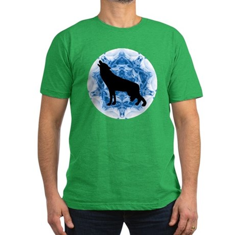 Wolf Silhouette Men's Fitted T-Shirt (dark)