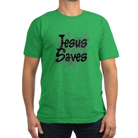 Jesus Saves Men's Fitted T-Shirt (dark)