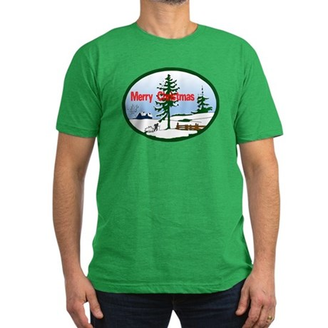 Christmas Snow Men's Fitted T-Shirt (dark)
