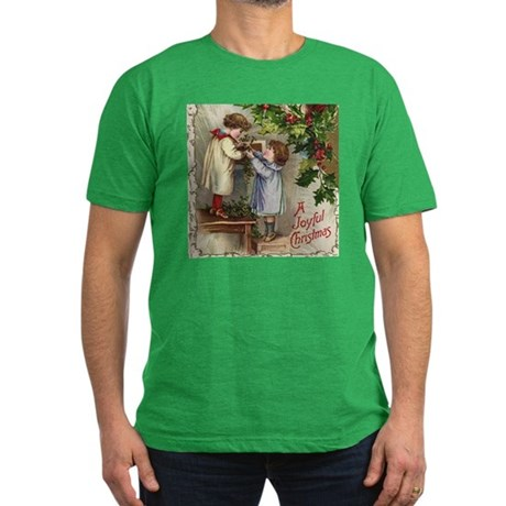 Vintage Christmas Card Men's Fitted T-Shirt (dark)