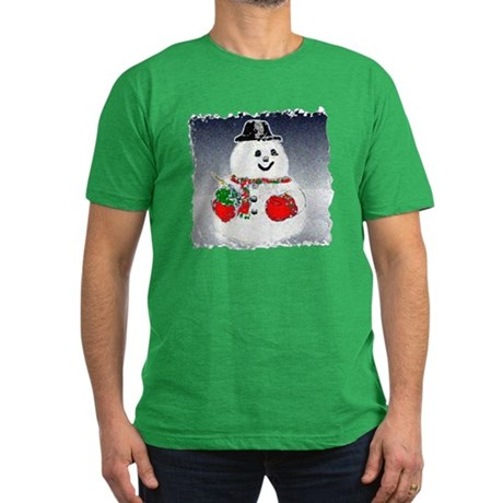 Winter Snowman Men's Fitted T-Shirt (dark)
