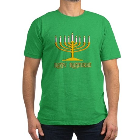 Happy Hanukkah Men's Fitted T-Shirt (dark)