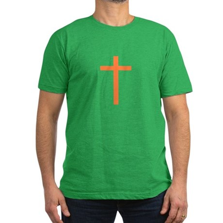Orange Cross Men's Fitted T-Shirt (dark)