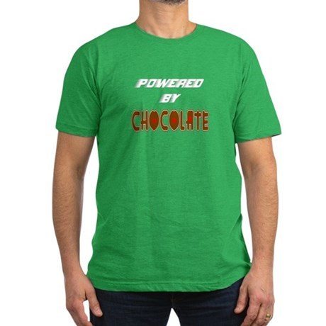Powered by Chocolate Men's Fitted T-Shirt (dark)