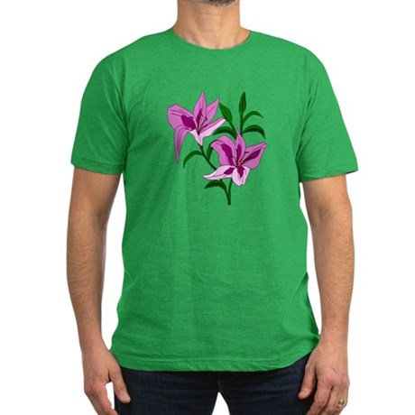 Pink Lilies Men's Fitted T-Shirt (dark)