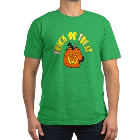 Jack o Lantern Cat Men's Fitted T-Shirt (dark)
