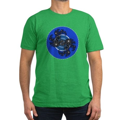 Fractal Kaleidoscope Blue Men's Fitted T-Shirt (da