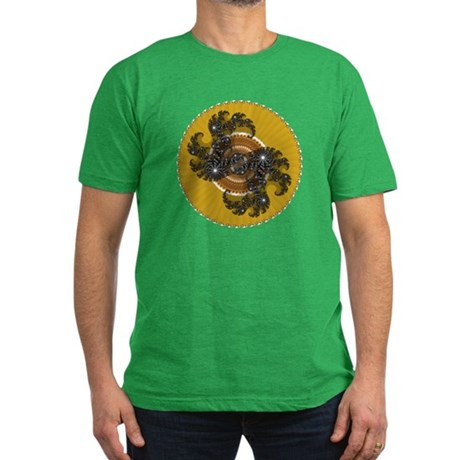 Fractal Kaleidoscope Gold Men's Fitted T-Shirt (da