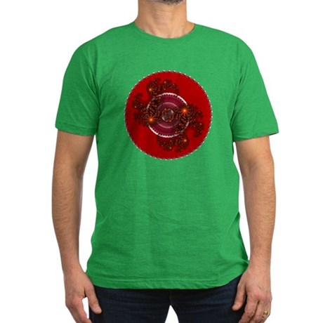 Fractal Kaleidoscope Red Men's Fitted T-Shirt (dar