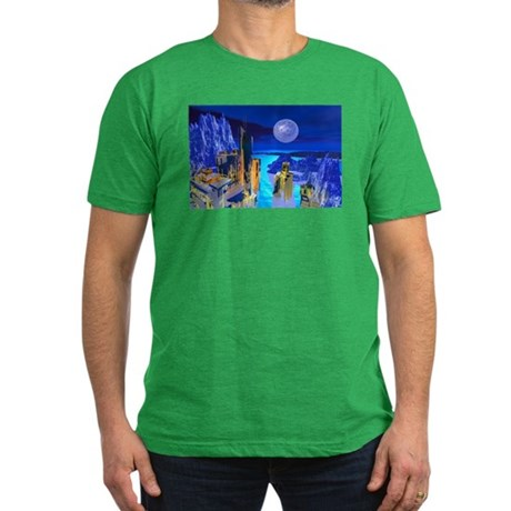 Fantasy Cityscape Men's Fitted T-Shirt (dark)