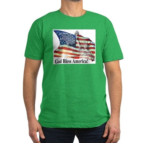 God Bless America! Men's Fitted T-Shirt (dark)