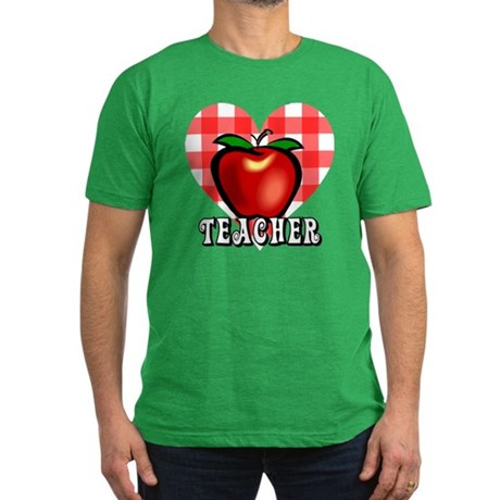 Teacher Checkered Heart Apple Men's Fitted T-Shirt