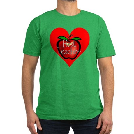 Best Teacher Apple Heart Men's Fitted T-Shirt (dar