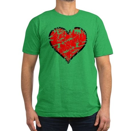 Red Grunge Heart Men's Fitted T-Shirt (dark)