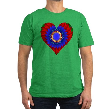 Kaleidoscope Heart Men's Fitted T-Shirt (dark)