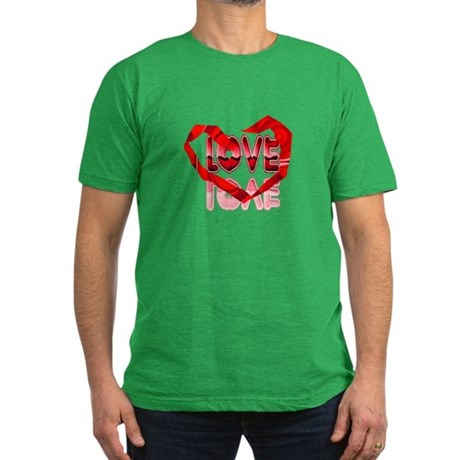 Abstract Love Heart Men's Fitted T-Shirt (dark)
