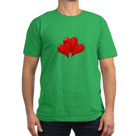 Three Hearts Men's Fitted T-Shirt (dark)