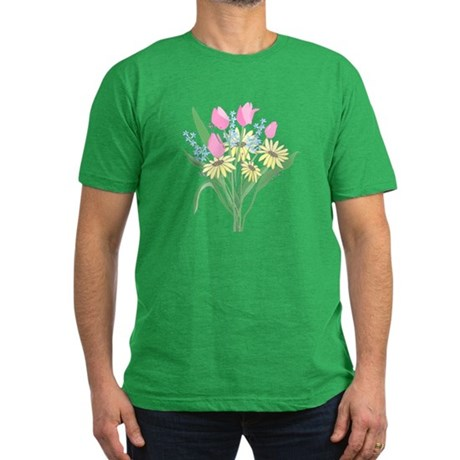 Valentine Bouquet Men's Fitted T-Shirt (dark)