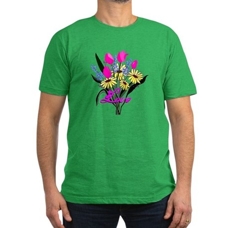 Love Bouquet Men's Fitted T-Shirt (dark)