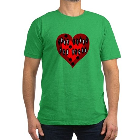 Holes in Heart Men's Fitted T-Shirt (dark)
