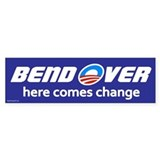 Bend Over - Here Comes Change Bumper Car Sticker