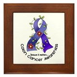Flower Ribbon COLON CANCER Framed Tile