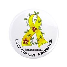 "Flower Ribbon LIVER CANCER 3.5"" Button (100 pack)"