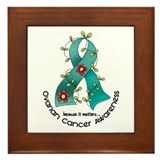 Flower Ribbon OVARIAN CANCER Framed Tile