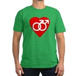 Loving Gay Heart Men's Fitted Dark T-Shirt