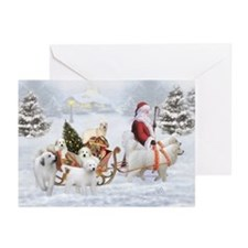 Gr.Pyrenees And Santa, Greeting Cards (Pk Of 10)
