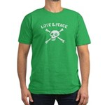 Love & Peace Skull Men's Fitted T-Shirt (dark)
