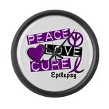 PEACE LOVE CURE Epilepsy (L1) Large Wall Clock